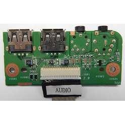 Плата расширения USB со звуковыми разъемами ноутбука Asus N53T 59-N4SI01000