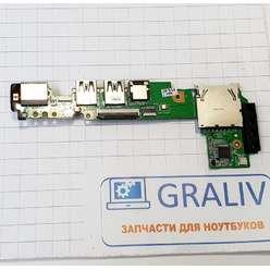 Доп. плата с кнопкой включения, аудио, cardreader, usb, lan, ноутбука Asus EEE PC 1011PX, 1015PX, 69NA3DB10C05-01