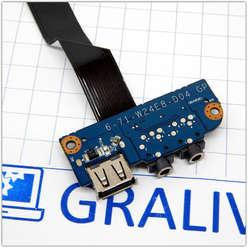 Плата расширения USB  со звуковыми разъемами ноутбука DNS W258ELQ 0161102 6-71-W24E8-D04