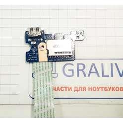Плата USB + cardreader ноутбука HP 15-ay, 15-ac, 15-af, 15t-ac, 15z-af, 15-ba, HP 250 G4, HP 250 G5, HP 255 G5, LS-D702P