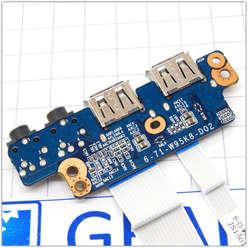 USB плата с аудио разьемом ноутбука Dexp O107 0808596, O109 0809436, 6-71-W95K8-D02