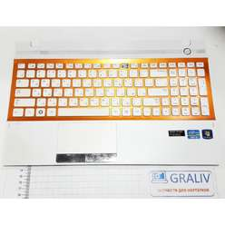 Палмрест (динамики, клавиатура) ноутбука Samsung NP300V5A, NP305V5A BA75-03246C